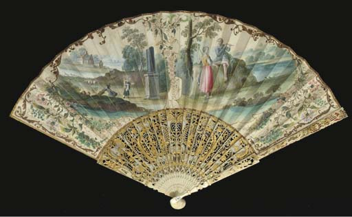 A fan, the leaf painted with two shaped vignettes, one a shepherd in a landscape, with a mother carrying her child on her back passing a broken column with a building beyond, the other a flautist playing to a woman with a distaff, the reserves painted with honeysuckle, the verso with a fisherman, the ivory sticks carved and pierced with figures and rabbits--11 1/2in. English, circa 1750, mounted in France