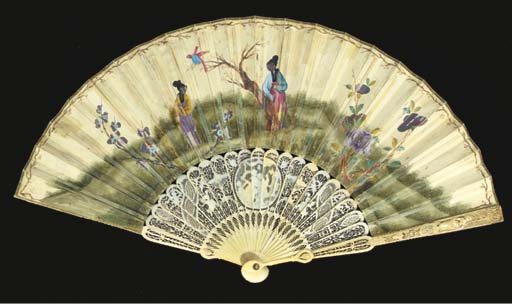 Christ and the woman of Samaria at the Well, a painted fan, the verso painted with chinoiserie, the ivory sticks carved and pierced with putti and trophies of love, the guardsticks with a lady and gentleman--10 1/4in., English, circa 1770