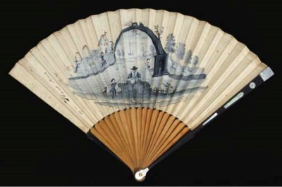 A mourning fan, the leaf paint
