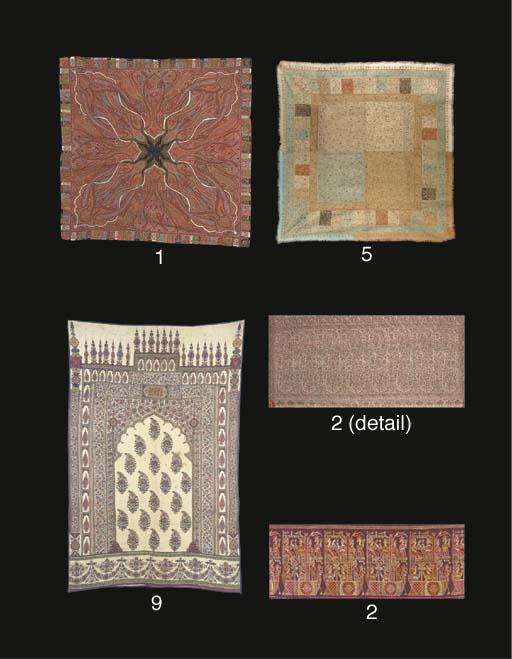 A square patchwork rumal shawl