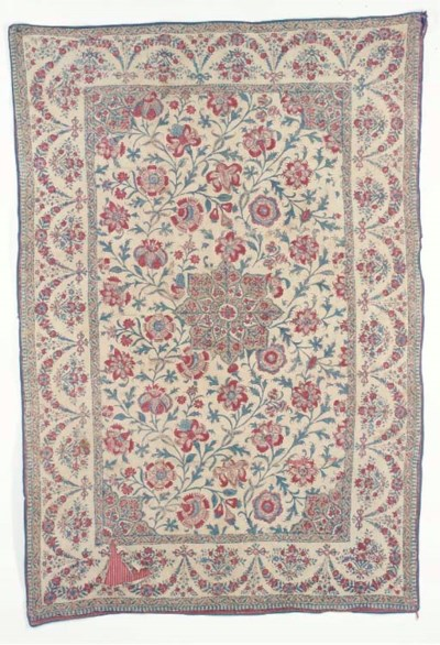 A chintz coverlet, the cotton