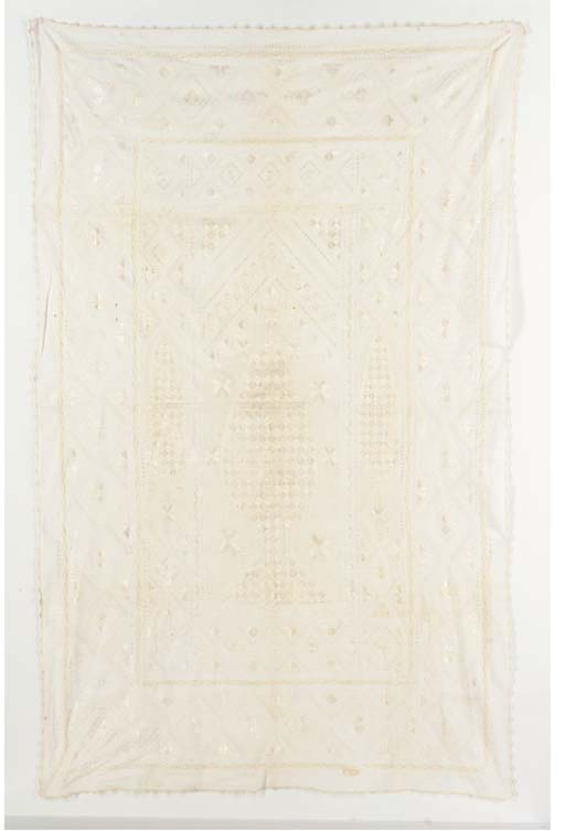 An embroidered whitework praye