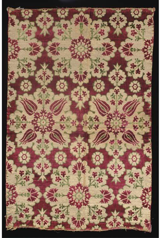 A fine velvet panel, woven wit