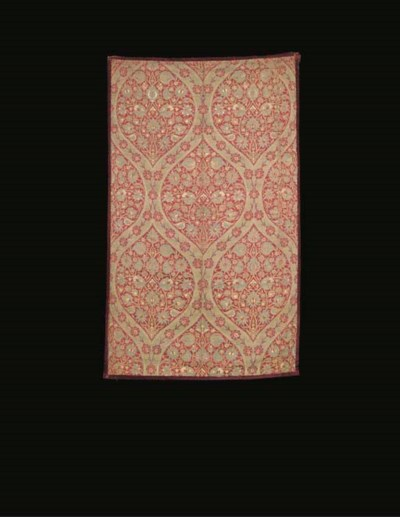 A panel of crimson silk brocad