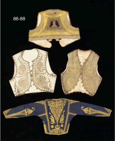 Two waistcoats, trimmed with g