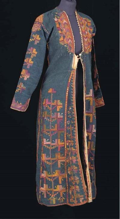 A dress of indigo cotton, embr