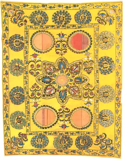 A susani of yellow cotton, emb