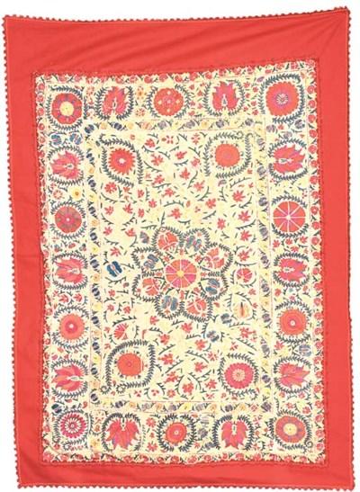 A susani, tamboured in silks w