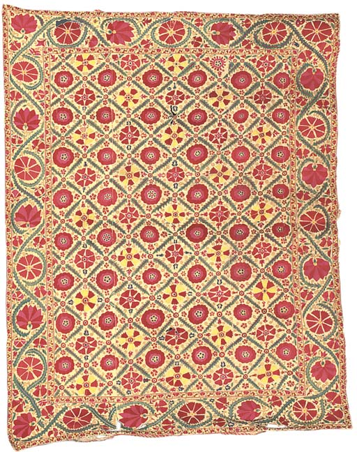 A fine susani, embroidered in