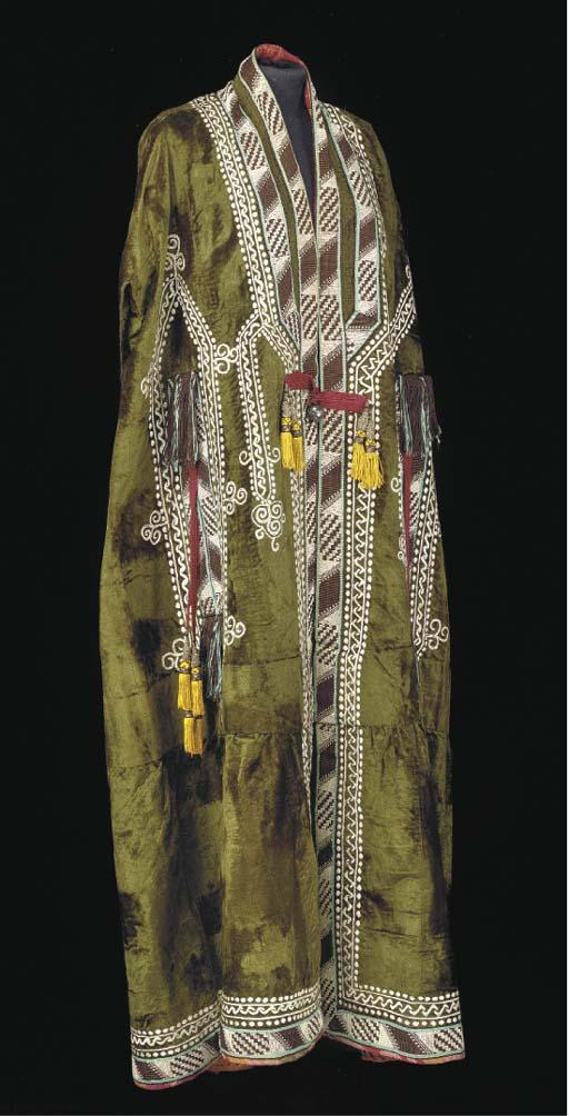 A Bokharan green velvet coat,,