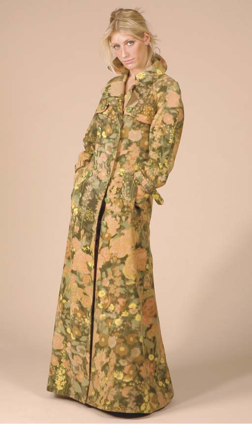 A FLORAL FELTED WOOL MAXI COAT