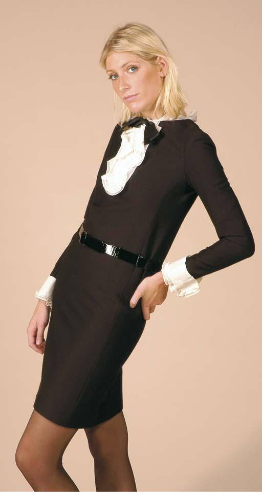 YVES SAINT LAURENT BLACK SILK DRESS, 1960s