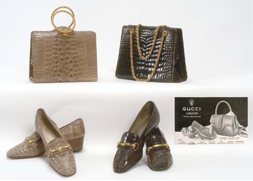 A COLLECTION OF SHOES AND BAGS BY GUCCI