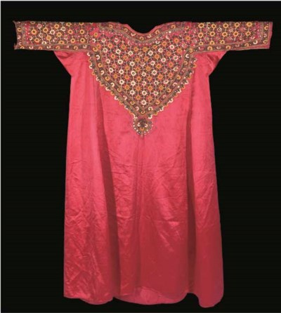 AN ABBA (TUNIC) OF RED SATIN,