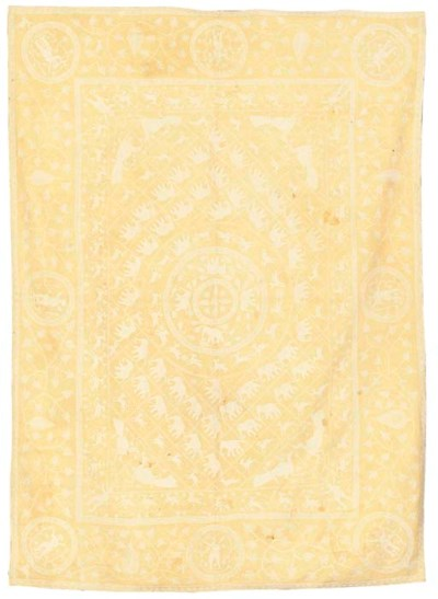 AN EMBROIDERED COVERLET, INDO-