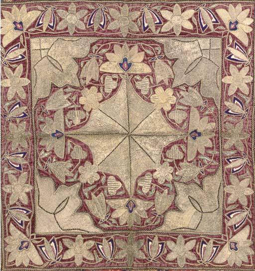 A PURPLE VELVET SUGAR COVER, PERSIAN, LATE 19TH CENTURY