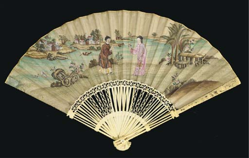 A PRINTED FAN WITH PAGODA STIC