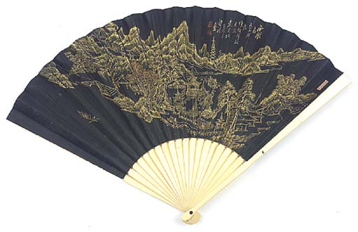 A FAN, THE BLACK LEAF PAINTED
