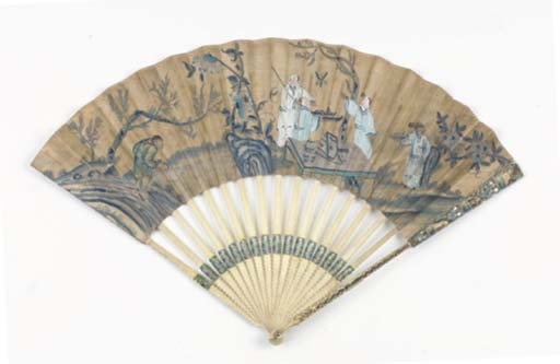 TWO CHINOISERIE PRINTED FANS