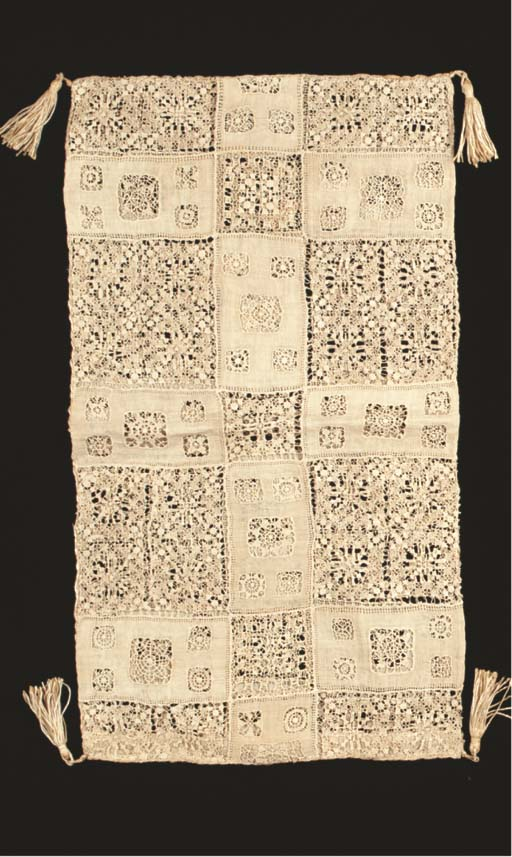 A LINEN CUTWORK AND LACE CUSHI