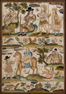 A FINE EMBROIDERED PANEL DEPIC