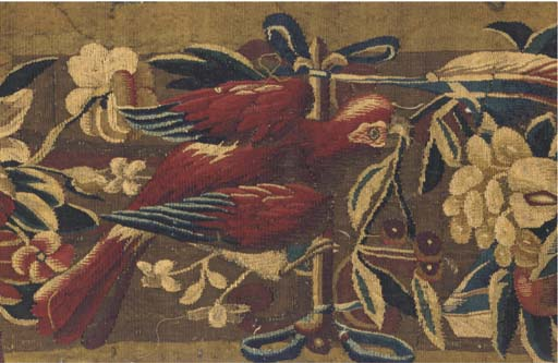 FOUR TAPESTRY BORDER FRAGMENTS