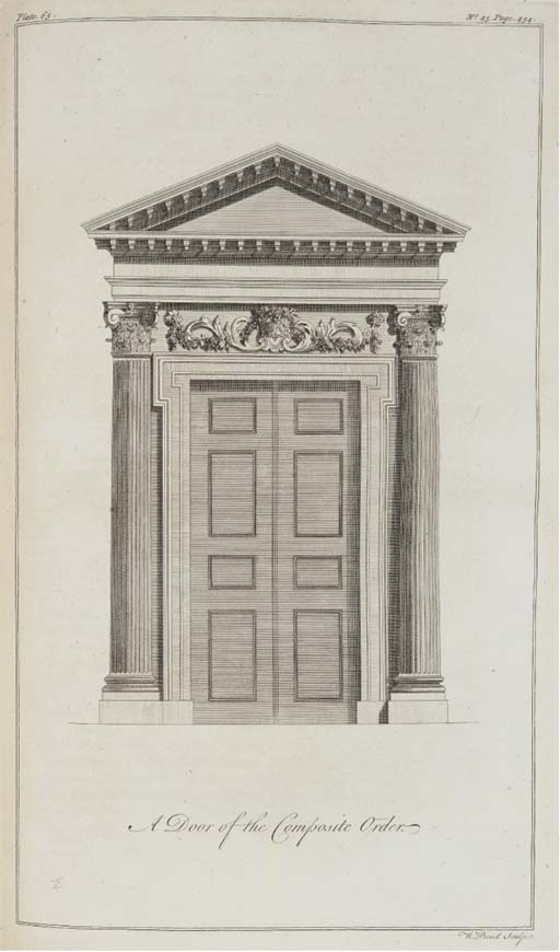 WARE, Isaac (d. 1766). A Complete Body of Architecture, London: Osborne, Shipton, etc., 1756. 2° (396 x 236). Engraved frontispiece and 114 plates, 14 folding, by Cole, Fourdrinier, Grignion and others, engraved title-vignette of the Pantheon and a vignette of an aquaduct at the beginning of the text, both by H. Roberts (2 folding plates slightly defective, one shaved, some light browning and offsetting). Modern polished calf gilt. FIRST EDITION, mixed issues of the plates whose erratic collation agrees with Fowler, loc. cit.. Archer 339.1; Harris 906; Fowler 436; RIBA 3581.