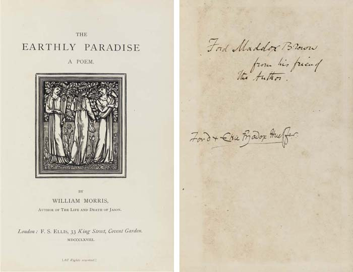 """MORRIS, William (1834-96).  The Earthly Paradise. A Poem. London: F. S. Ellis, 1868-71. 4 parts in 3 volumes, 8°, each title with repeated vignette after Burne-Jones, used again on final leaf of each vol., part IV with replacement title to parts I and II dated 1870 bound in at end (some marginal soiling in the first vol., the second vol. severely damaged by corrosive substance at top and bottom margins leaving the pages brittle and causing substantial loss of text near end). Original cloth by Burn (front cover of the first vol. chipped at bottom edge, binding of the second vol. detached, all three vols. rubbed and stained, paper labels worn). Provenance: PRESENTATION COPIES TO FORD MADOX BROWN, front free endpaper of vol. I inscribed """"Ford Maddox [sic] Brown from his friend the Author""""; vol. II """"Ford Mddox [sic] from his friend the Author""""; and vol. III """"Ford Maddx [sic] Brown from his friend William Morris"""", thence to: -- FORD MADOX HUEFFER, inscribed """"Ford & Elsie [Mado"""