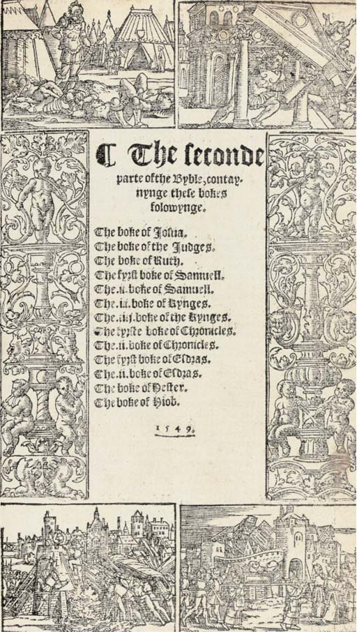 BIBLE, English, Matthew's Version. [The Byble, that is to say all the Holy Scripture, London: S. Mierdman for John Day and William Seres, 17 August 1549]. 5 parts in one volume, 2° (295 x 185mm). 4 divisional titles within different woodcut borders (2 defective), 50 woodcut illustrations in the text, 2 large (lacks all before D4, 23 leaves, and the last 2 leaves, lower fore-corner of the first 2 leaves repaired with slight loss, 2 small holes in last leaf with slight loss, top margin of same leaf repaired, one or two short tears, mostly in the margins, occasional light discolouration and staining) but for the most part a sound copy in 20th-century calf. A revision of the 'Matthew' version, first printed in 1537, by Edmund Becke. STC 2077; DMH 74.