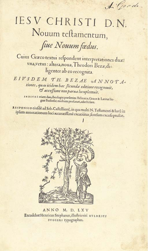 """BIBLE, New Testament, Greek and Latin. Jesv Christi D.N. Novum testamentum, sive Novum foedus, edited and with Latin translation by Theodore Beza (1519-1605). [Geneva]: Henricus Stephanus, for Ulrich Fugger, 1565. 2° (345 x 213mm), Greek, Hebrew, and roman types, woodcut printer's device on title, woodcut diagrams, decorative initials and headpieces (lightly browned, some light marginal spotting), German blindstamped pigskin over wooden boards, tooled with rolls and saints' panels, front cover lettered """"S L D  1575"""", two fore-edge clasps. Provenance: Electors of Saxony (inscriptions dated 1581); A. Goode (19th-century inscriptions)."""