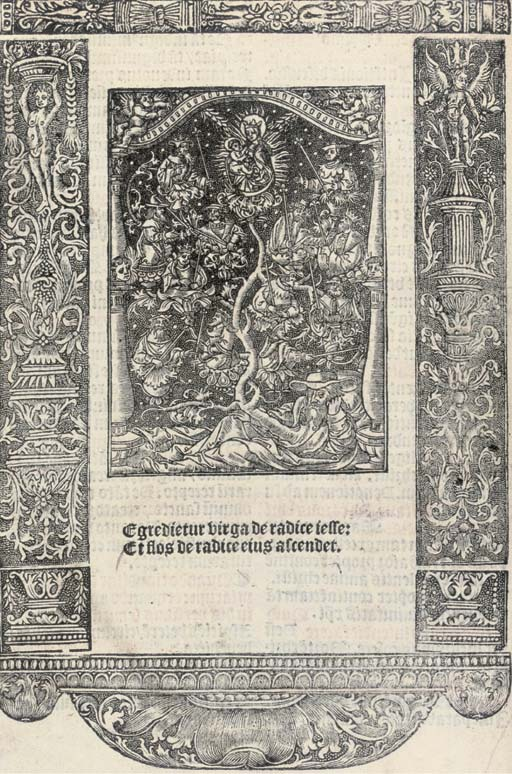 MISSAL, use of Sarum. Missale ad vsum ecclesie Sarisburie[n]sis, Paris: François Regnault, 1529. 3 parts in one volume, 4° (225 x 168mm). Printed in red and black, the 4 leaves of the Canon Missae (v3-6) PRINTED ON VELLUM with a large woodcut of the Crucifixion, title within a woodcut border and with a large woodcut, metalcut of the Tree of Jesse on *8v within a criblé border (repeated once), several large woodut illustrations and numerous small ones, woodcut initials, woodcut music printed on 4 staves, Regnault's device on last page (lower portion of the vellum leaf v4 restored with 2 lines in facsimile, a few illustrations and initials badly hand-coloured, top margins cut quite close just touching a few headlines). 19th-century old-style morocco by W. Pratt for F.S. Ellis, gilt edges (hinges rubbed). STC 16210; Adams L1212.