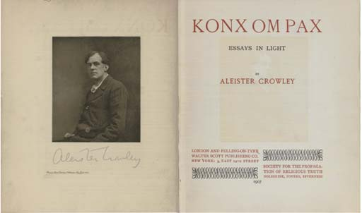 CROWLEY, Aleister (1875-1947).  Konx Om Pax.  Essays in Light. London: Walter Scott Publishing Co., 1907. 4° (195 x 165mm). Half title, photogravure frontispiece portrait of the author, title printed in red and black. Original black cloth with stylised lettering blocked in white, uncut (some staining, extremities lightly rubbed). Provenance: Cecil C. Adams (early signature on front free endpaper). NUMBER 80 OF 500 COPIES SIGNED BY THE AUTHOR.