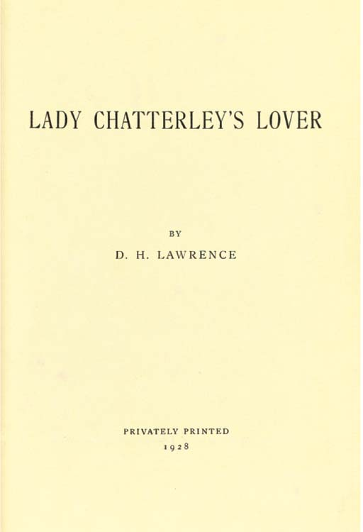 LAWRENCE, D. H. (1885-1930).  Lady Chatterley's Lover. Florence: Privately Printed at the Tipografia Giuntina, 1928. Large 8° (228 x 165mm). Original mulberry paper boards, upper cover with Phoenix motif printed in black, white printed paper label on spine, uncut (a few chips at edges, one corner of upper board a little worn). Provenance: G. Y. Giglioli (bookplate). FIRST EDITION. NUMBER 353 OF 1,000 COPIES SIGNED BY THE AUTHOR. Fabes p.14; Roberts A42a.