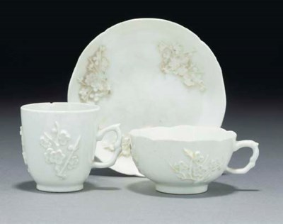 A Bow white prunus teacup and