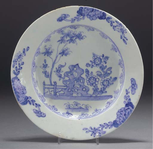 A Bow blue and white plate