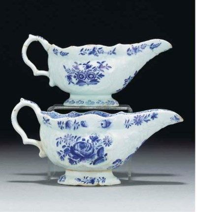Two Bow blue and white moulded