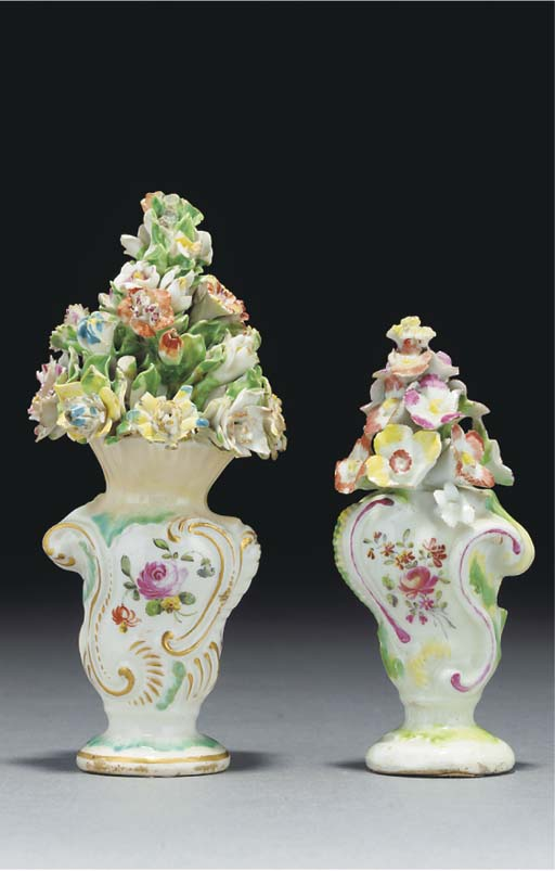 Two Derby rococo scroll vases