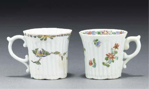Two Worcester fluted coffee-ca