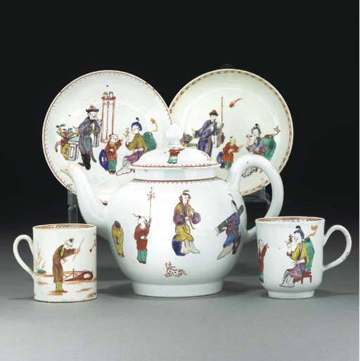 A group of Liverpool tea and coffee wares