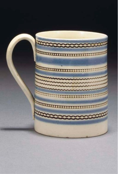 An English pearlware cylindric