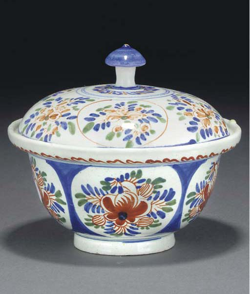 A DELFT POLYCHROME BOWL AND A