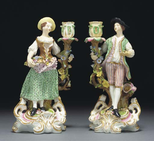A PAIR OF DERBY FIGURAL CANDLE