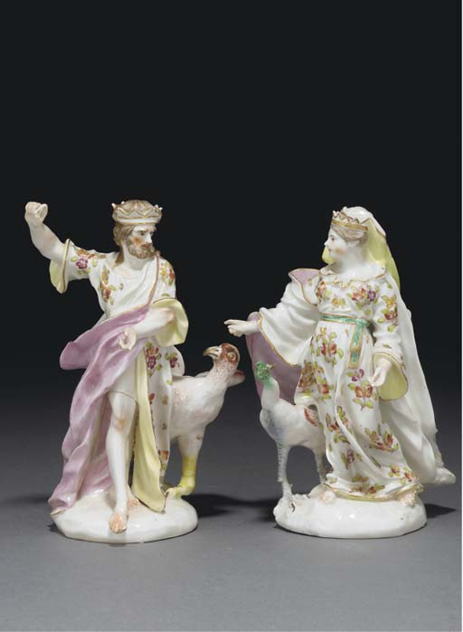 A PAIR OF DERBY FIGURES OF JUP