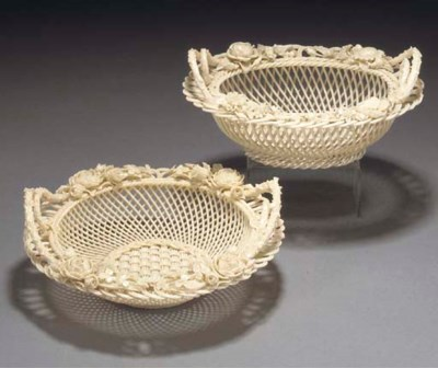 Two Belleek three-strand baske