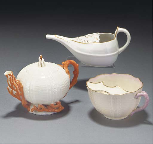 A Belleek 'Echinus' small teap