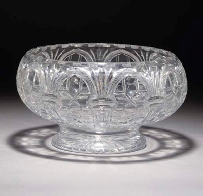 FIVE VARIOUS ITEMS OF CUT-GLAS