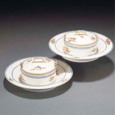 Two Sevres butter-tubs, covers