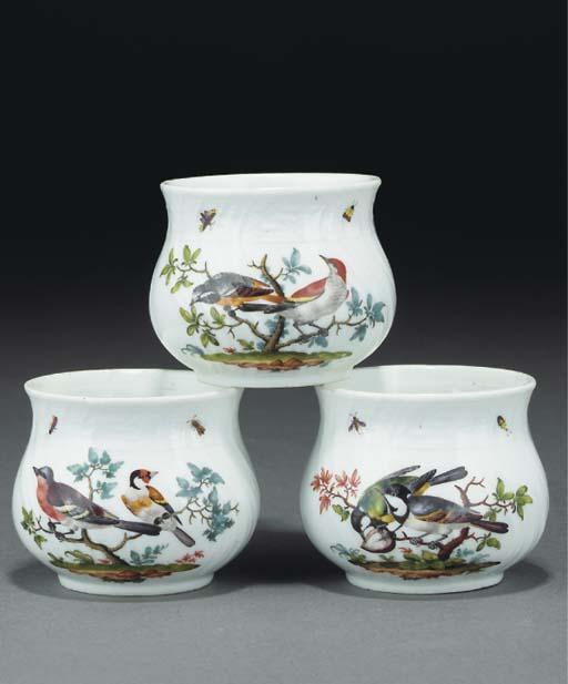 Three Meissen ornithological custard-cups