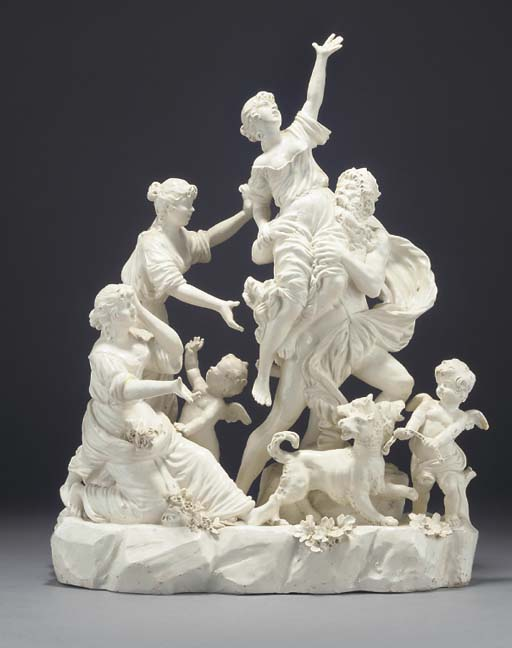 A Naples creamware group of th