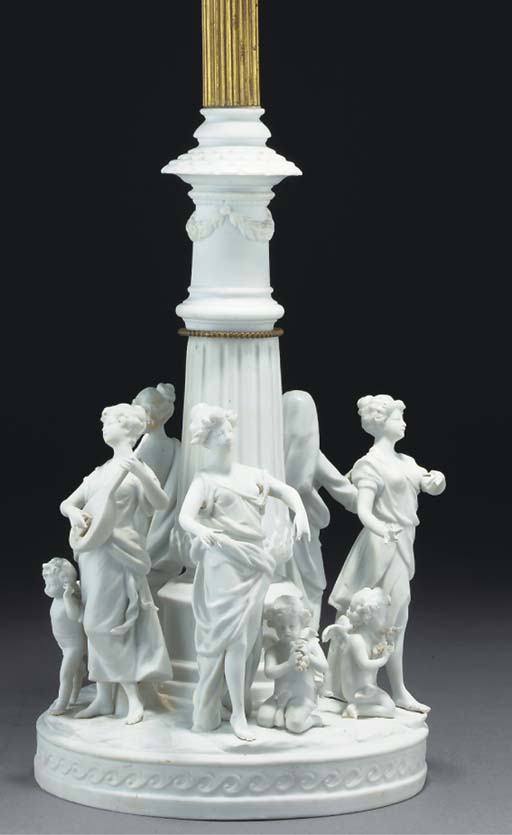 A Continental biscuit porcelain lamp-base